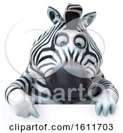 3d Zebra Over A Sign On A White Background