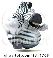 3d Zebra Holding A Tooth On A White Background