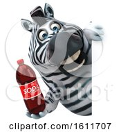 Poster, Art Print Of 3d Zebra Holding A Soda On A White Background