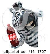 3d Zebra Holding A Soda On A White Background