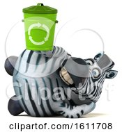 3d Zebra Holding A Recycle Bin On A White Background