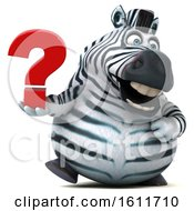 3d Zebra Holding A Question Mark On A White Background