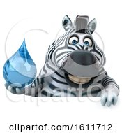 3d Zebra Holding A Water Drop On A White Background