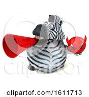 3d Zebra Holding A Devil On A White Background