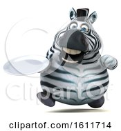 3d Zebra Holding A Plate On A White Background