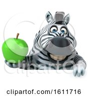 3d Zebra Holding An Apple On A White Background