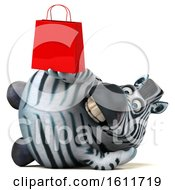 3d Zebra Holding A Shopping Bag On A White Background