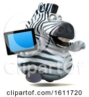3d Zebra Holding A Tablet On A White Background
