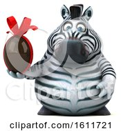 3d Zebra Holding A Chocolate Egg On A White Background