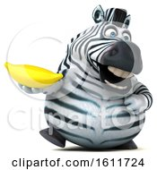 3d Zebra Holding A Banana On A White Background