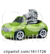 3d Zebra Driving A Convertible On A White Background