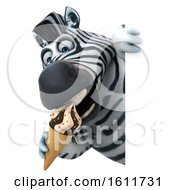 Poster, Art Print Of 3d Zebra Holding A Waffle Cone On A White Background