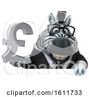 Poster, Art Print Of 3d Business Zebra Holding A Pound Currency Symbol On A White Background