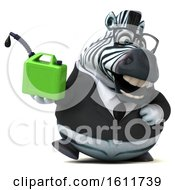 Clipart Of A 3d Business Zebra Holding A Gas Can On A White Background Royalty Free Illustration