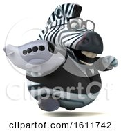 Clipart Of A 3d Business Zebra Holding A Plane On A White Background Royalty Free Illustration