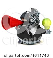 Poster, Art Print Of 3d Business Zebra Holding A Light Bulb On A White Background