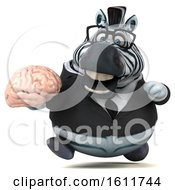 Clipart Of A 3d Business Zebra Holding A Brain On A White Background Royalty Free Illustration