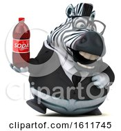Poster, Art Print Of 3d Business Zebra Holding A Soda On A White Background