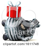 3d Zebra Holding A Gift On A White Background
