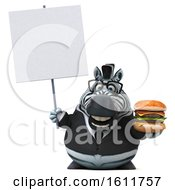 3d Business Zebra Holding A Burger On A White Background