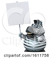 3d Zebra Holding A Blank Sign On A White Background
