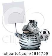3d Zebra Holding A Soccer Ball On A White Background