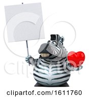 3d Zebra Holding A Heart On A White Background