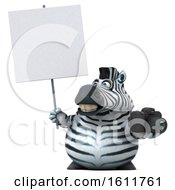 3d Zebra Holding A Camera On A White Background