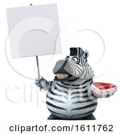 3d Zebra Holding A Steak On A White Background