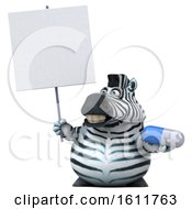 3d Zebra Holding A Pill On A White Background