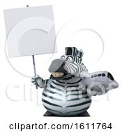 3d Zebra Holding A Plane On A White Background