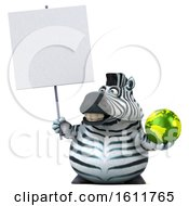 3d Zebra Holding A Globe On A White Background