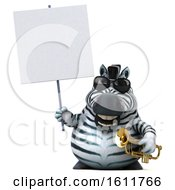 3d Zebra Holding A Trumpet On A White Background