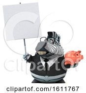 Poster, Art Print Of 3d Business Zebra Holding A Piggy Bank On A White Background