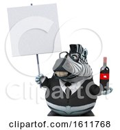 3d Business Zebra Holding Wine On A White Background