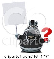 3d Business Zebra Holding A Question Mark On A White Background