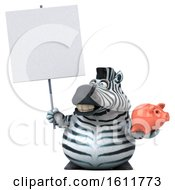 Poster, Art Print Of 3d Zebra Holding A Piggy Bank On A White Background
