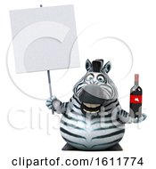 3d Zebra Holding Wine On A White Background