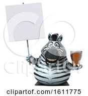 3d Zebra Holding A Beer On A White Background