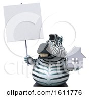 3d Zebra Holding A House On A White Background