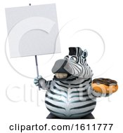 3d Zebra Holding A Donut On A White Background