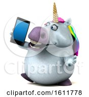 Clipart Of A 3d Chubby Unicorn Holding A Cell Phone On A White Background Royalty Free Illustration