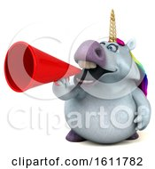 Clipart Of A 3d Chubby Unicorn Holding A Megaphone On A White Background Royalty Free Illustration