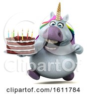 Poster, Art Print Of 3d Chubby Unicorn Holding A Birthday Cake On A White Background
