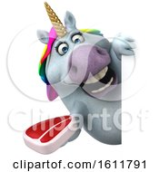 3d Chubby Unicorn Holding A Steak On A White Background