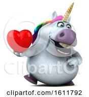 Poster, Art Print Of 3d Chubby Unicorn Holding A Heart On A White Background