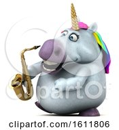 3d Chubby Unicorn Holding A Saxophone On A White Background