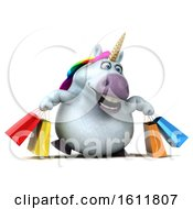 3d Chubby Unicorn Carrying Shopping Bags On A White Background