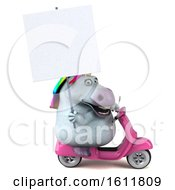 3d Chubby Unicorn Riding A Scooter On A White Background