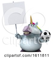 3d Chubby Unicorn Holding A Soccer Ball On A White Background